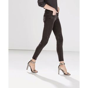 Zara Dark Grey Moto Biker Ankle Jeans